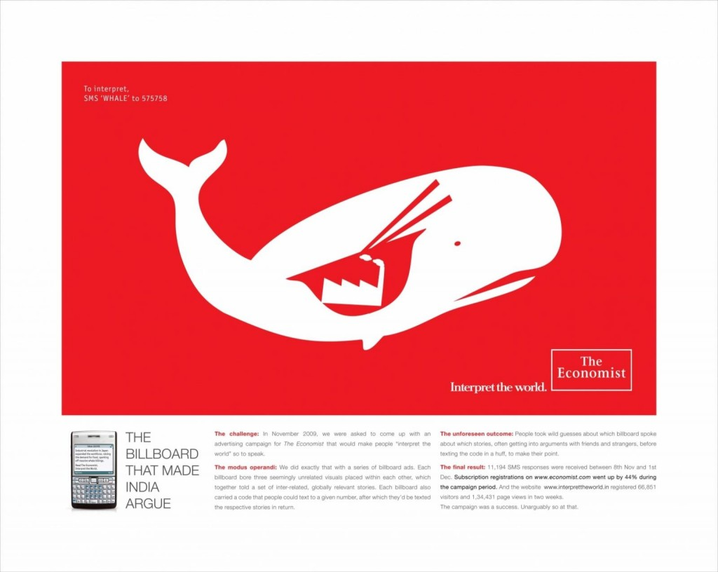 billboard campaign, the economist whale